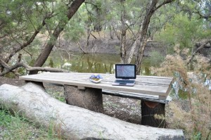 My mobile office, outside the camping hut