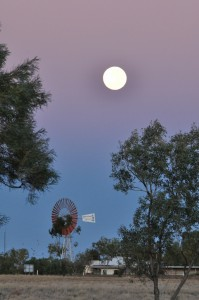 Supermoon setting at Julia Creek