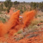 The red dust of the Finke Desert Race in outback Northern Territory, Australia