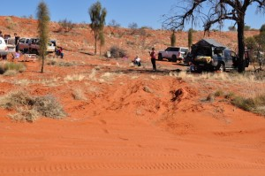 Camping in the red dust