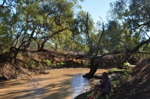 Sitting under the shade of a coolibah tree