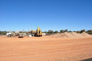 Roadworks - widening and tarring outback roads
