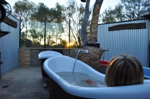 Watching the sunset from the bath