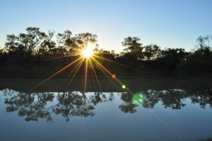 Sunset over the Thomson River, Jundah
