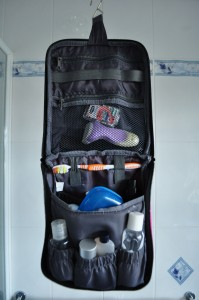 Toiletries bag hangs up