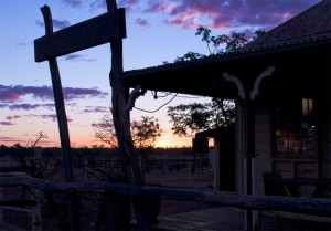 Purple sunset from the verandah of an outback pub in Queensland
