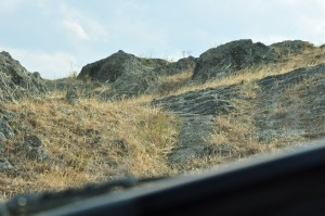 Sitting next to Doc in the hilux - at the steep, rocky bit