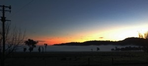 Sam's sunrise - with a blanket of fog over the farm