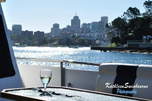 Drinking wine while cruising the harbour