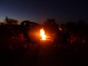 Roadside camp campfire at sunset3