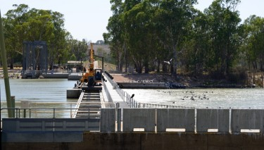 Lock 1 at Blanchetown South Australia with a higher level of water on one side than the other. Pelicans and other waterbirds are surfing the waves of the outlet or waiting on the banks and weir for a feed of fisih