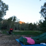 My campsite at Arkaroola with the campfire and my swag