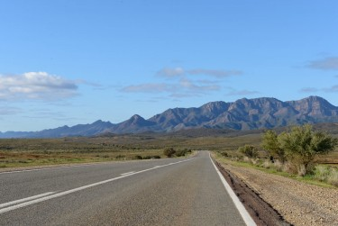On the tar with the rugged Flinders Ranges to the east