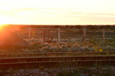 Sunset over the Ghan tracks