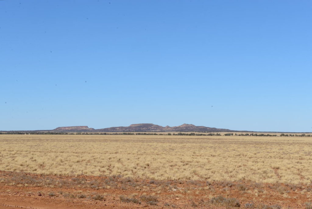 Jump up country, outback Queensland - table top hills sticking up in the flat plains