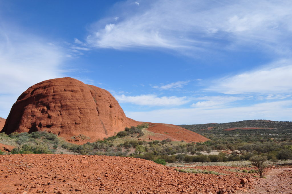 Kata Tjuta - red rocks, blue skies, green vegetation