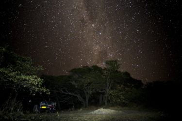 Starry sky over our tent Bathurst Bay tropical beach