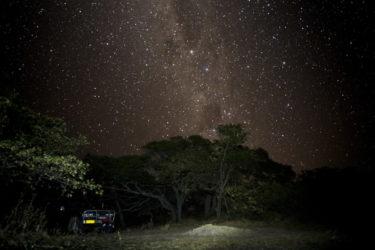 Starry sky over our tent Bathurst Bay tropical beach